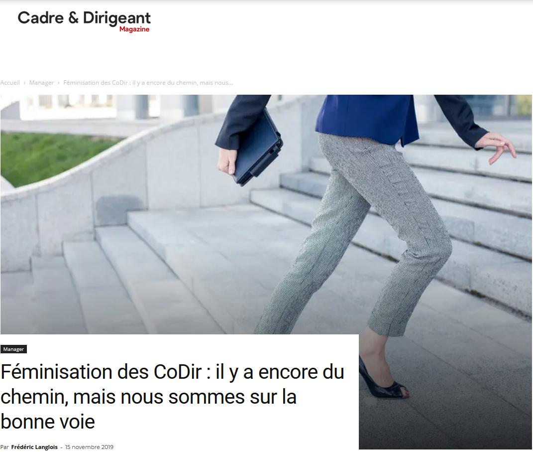 Tribune de Frédéric Langlois – Cadre & Dirigeant – Féminisation des CoDir : il y a encore du chemin, mais nous sommes sur la bonne voie