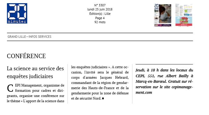 """20 minutes – """"Conférence La science au service des enquêtes judiciaires"""""""