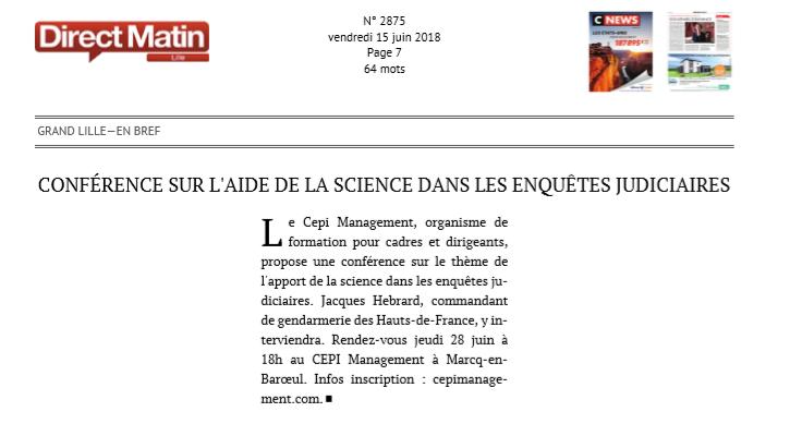CNEWS – «Conférence sur l'aide de la science dans les enquêtes judiciaires»
