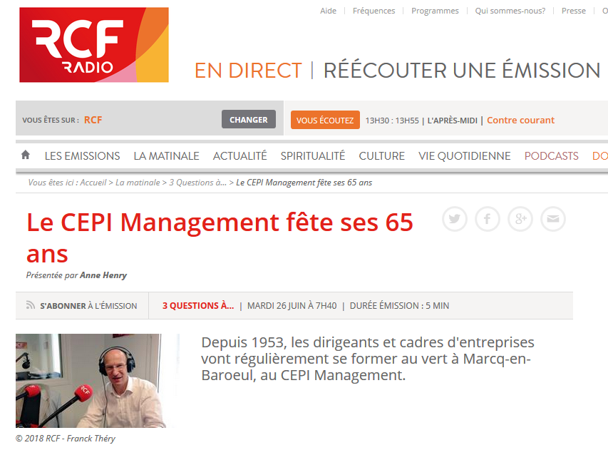 """RCF – """"Le CEPI Management fête ses 65 ans"""""""