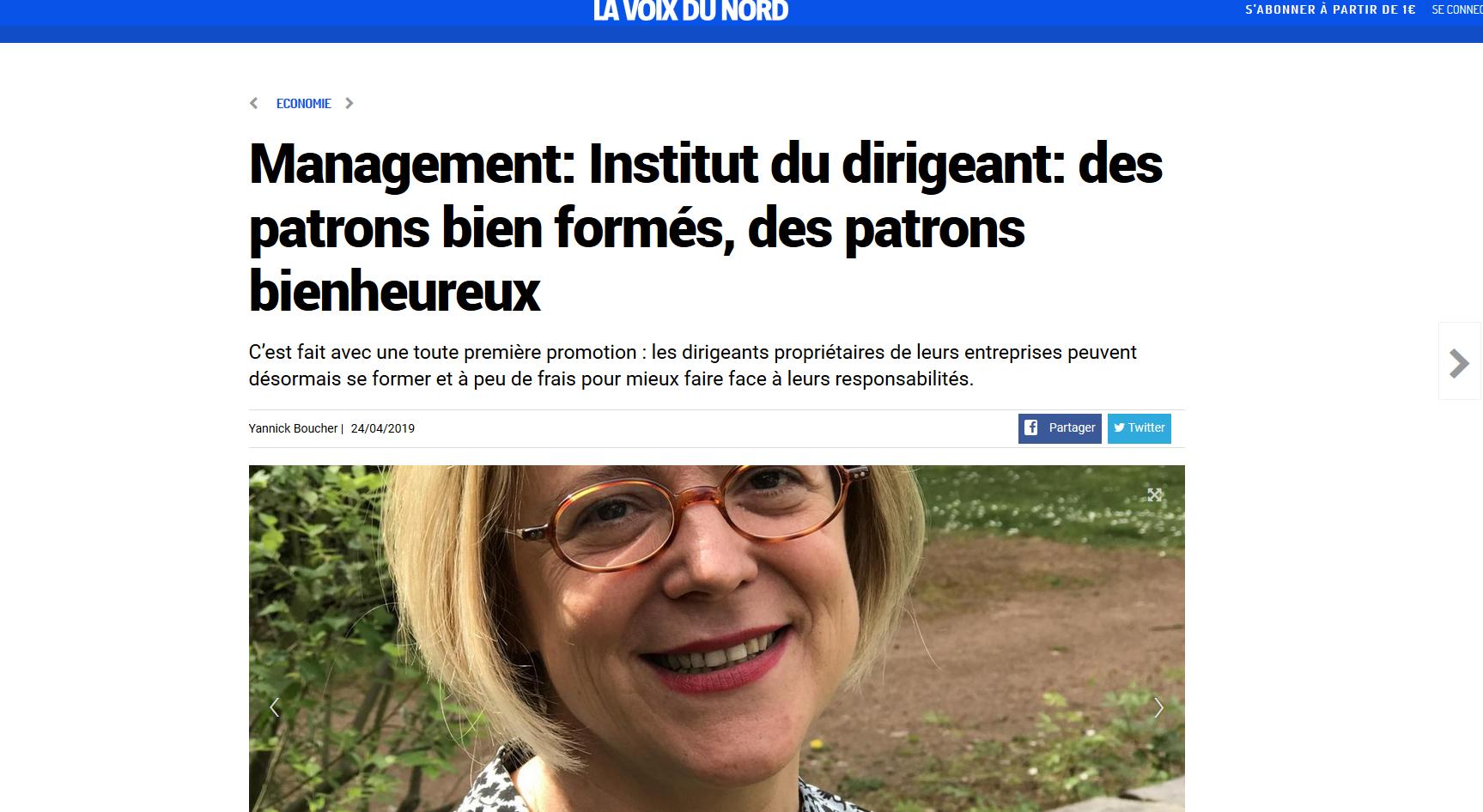 La Voix du Nord – «Management Institut du dirigeant: des patrons bien formés, des patrons bienheureux»