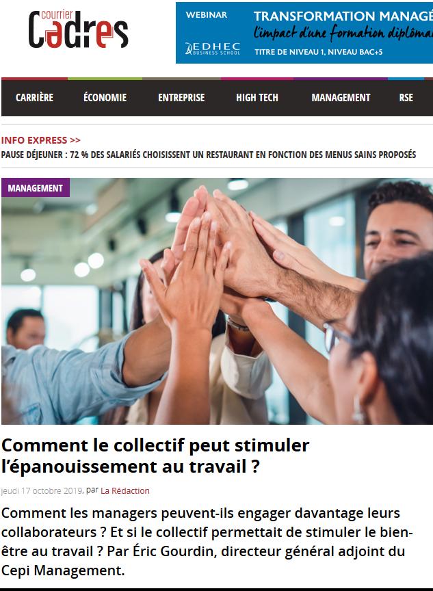 Tribune d'Eric Gourdin – Courrier Cadres – «Comment le collectif peut stimuler l'épanouissement au travail ?»
